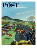 """Slow Mooving Traffic"" Saturday Evening Post Cover, April 11, 1953 Giclee Print by Ben Kimberly Prins"