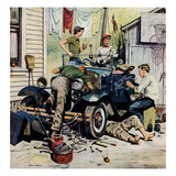"""Working on the Jalopy"", May 20, 1950 Giclee Print by Stevan Dohanos"