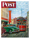 """Parallel Parking"" Saturday Evening Post Cover, April 1, 1950 Giclee Print by Thornton Utz"