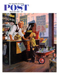 &quot;Returning Bottles for Refund&quot; Saturday Evening Post Cover, March 28, 1959 Reproduction proc&#233;d&#233; gicl&#233;e par George Hughes