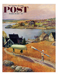 """Children with Rowboat"" Saturday Evening Post Cover, October 31, 1953 Giclee Print by John Clymer"