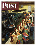 """Chocolate Easter Bunnies"" Saturday Evening Post Cover, March 25, 1950 Giclee Print by Stevan Dohanos"