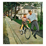 """Bike Riding Lesson"", June 12, 1954 Giclee Print by George Hughes"