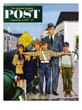 """Crossing Guard"" Saturday Evening Post Cover, September 6, 1952 Giclee Print by George Hughes"