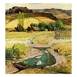 """Swimming in the Creek"", August 29, 1959 Giclee Print by John Clymer"
