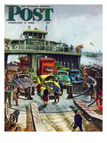 """Hudson Ferry"" Saturday Evening Post Cover, February 4, 1950 Gicléetryck av Thornton Utz"
