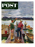 """Showing Off the Big One"" Saturday Evening Post Cover, September 15, 1951 Giclee Print by Mead Schaeffer"