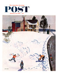 """Snow Angels"" Saturday Evening Post Cover, January 10, 1953 Giclee Print by John Falter"