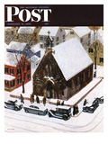 """Snowy Morning at Church"" Saturday Evening Post Cover, January 6, 1951 Giclee Print by John Falter"