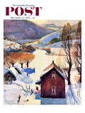"""Snow on the Farm"" Saturday Evening Post Cover, December 22, 1956 Giclee Print by John Clymer"