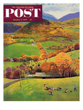 """""""Football in the Country"""" Saturday Evening Post Cover, October 8, 1955 Giclee Print by John Clymer"""