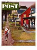 """Paperboy"" Saturday Evening Post Cover, April 14, 1951 Giclee Print by John Falter"