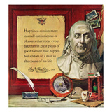 """Benjamin Franklin - Bust and Quote"", January 18, 1958 Giclee Print by Stanley Meltzoff"