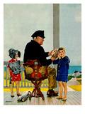 """Listening to the Sea"", July 21, 1956 Impression giclée par John Falter"
