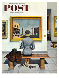 """Art Lover"" Saturday Evening Post Cover, March 3, 1956 Giclee Print by Stevan Dohanos"
