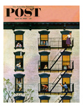 """Apartment Clarinetist"" Saturday Evening Post Cover, April 19, 1958 Giclee Print by John Falter"