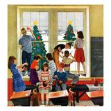 """Classroom Christmas"", December 8, 1951 Giclee Print by John Falter"