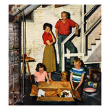 """Kittens in the Basement"", January 8, 1955 Giclee Print by John Falter"