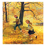 """Walking Home Through Leaves"", October 7, 1950 Giclee Print by John Clymer"