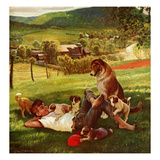 """Dog Days of Summer"", June 25, 1955 Giclée-Druck von John Clymer"