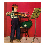 """Violin Practice"", February 5, 1955 Giclee Print by Richard Sargent"