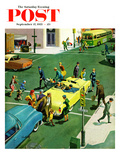 """Blocking the Crosswalk"" Saturday Evening Post Cover, September 17, 1955 Giclee Print by Thornton Utz"