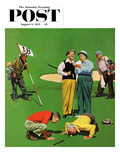 """Eighteenth Hole"" Saturday Evening Post Cover, August 6, 1955 Giclee Print by John Falter"