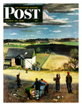 """Flying Kites"" Saturday Evening Post Cover, March 18, 1950 Giclee Print by John Falter"