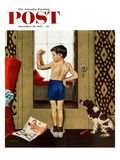 &quot;Young Charles Atlas&quot; Saturday Evening Post Cover, November 29, 1952 Reproduction proc&#233;d&#233; gicl&#233;e par George Hughes