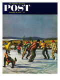 """Ice Skating on Pond"" Saturday Evening Post Cover, January 26, 1952 Giclee Print by John Falter"