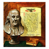 """Benjamin Franklin - Bust and Quote"", January 16, 1954 Giclee Print by John Atherton"