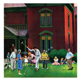 """Croquet Game"", September 29, 1951 Giclee Print by John Falter"