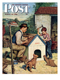"""Building the Doghouse"" Saturday Evening Post Cover, March 24, 1951 Giclee Print by Amos Sewell"