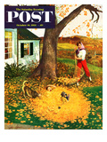 """Leaf Pile"" Saturday Evening Post Cover, October 16, 1954 Giclee Print by John Clymer"