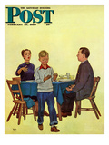 """""""Wash Your Hands"""" Saturday Evening Post Cover, February 18, 1950 Giclee Print by Jack Welch"""