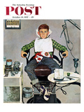 """In the Dentist's Chair"" Saturday Evening Post Cover, October 19, 1957 Giclee Print by Kurt Ard"