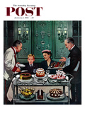"""""""Dessert Cart"""" Saturday Evening Post Cover, January 1, 1955 Giclee Print by Stevan Dohanos"""