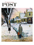 """Snowy Ambush"" Saturday Evening Post Cover, January 24, 1959 Giclee Print by John Falter"