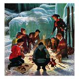 """Apres Ski Bonfire"", February 23, 1952 Giclee Print by John Clymer"