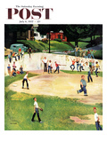 """Sandlot Homerun"" Saturday Evening Post Cover, July 6, 1957 Giclee Print by John Falter"