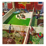 """Painting the Patio Green"", May 2, 1953 Gicléetryck av Thornton Utz"