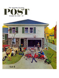 """Building a Go-Cart"" Saturday Evening Post Cover, October 18, 1958 Giclee Print by Thornton Utz"