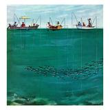 """""""School of Fish Among Lines"""", August 7, 1954 Reproduction procédé giclée par Thornton Utz"""