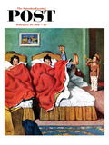 """Parents' Reveille"" Saturday Evening Post Cover, February 20, 1954 Giclee Print by Amos Sewell"