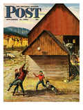 """Ranch Basketball"" Saturday Evening Post Cover, November 11, 1950 Giclee Print by John Clymer"