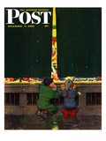 """Toy Store Window"" Saturday Evening Post Cover, December 9, 1950 Giclee Print by M. Coburn Whitmore"