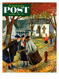 """Fall Gab Session"" Saturday Evening Post Cover, November 7, 1953 Giclee Print by Constantin Alajalov"