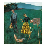 """Farmer and Female Artist in Field"", June 6, 1953 Giclee Print by George Hughes"