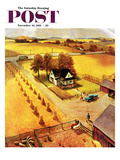 """Thanksgiving on the Farm"" Saturday Evening Post Cover, November 26, 1955 Giclee Print by John Clymer"