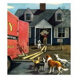"""New Dog in Town"", March 21, 1953 Giclee Print by Stevan Dohanos"